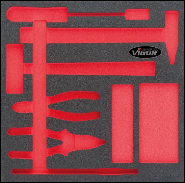 2/3 Weichschaumeinlage Hammer, Zangen, Meißel-Satz, leer V1511
