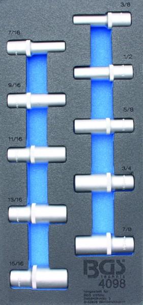 BGS - Werkstattwageneinlage Steckschlüssel-Einsätze 12,5 (1/2), tief in Zollgrößen, 10-tlg. (Art. 40
