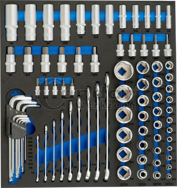 """Condor 7181 Schaumeinlage Zoll-Werkzeug 2/3, 81-tlg., 1/4+3/8+1/2"""""""