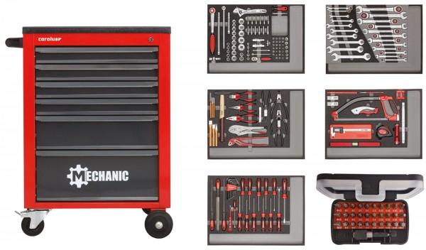 Werkstattwagen MECHANIC rot mit Werkzeugsatz 2250.5803, 222-tlg