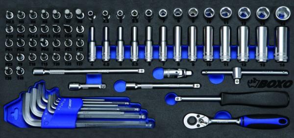 BX037 - Boxo Werkzeugeinlage Steckschlüssel-Satz 72-tlg.