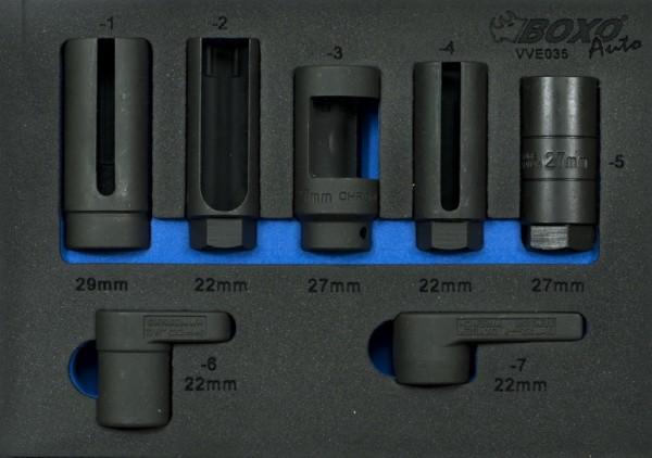 VVE035 - Boxo Werkzeugeinlage Drucksensoren-Stecknuß-Satz 7-tlg.