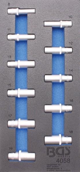 BGS - Werkstattwageneinlage Steckschlüsseleinsätze 10 (3/8), 6-kant, tief, 8-19 mm, 11-tlg. (Art. 40