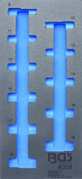 BGS - Werkstattwageneinlage (408x189x32 mm), leer, für Steckschlüsseleinsätze 10 (3/8), 6-kant, tief