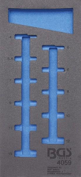BGS - Werkstattwageneinlage (408x189x32 mm), leer, für Steckschlüsseleinsätze 6,3 (1/4), 6-kant, tie