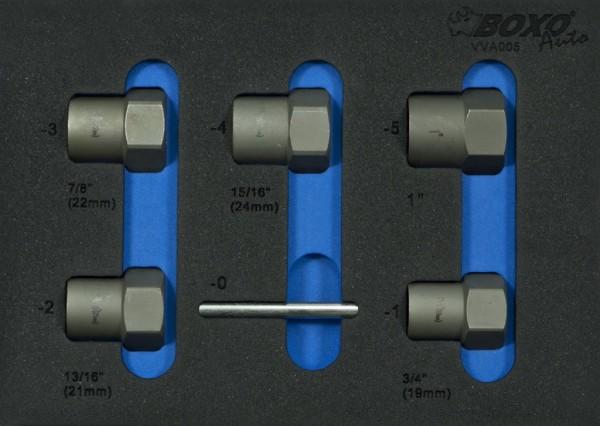 VVA005 - Boxo Werkzeugeinlage Kraft Stecknuss-Satz mit Spiralnüssen für beschädigte Schrauben und Mu