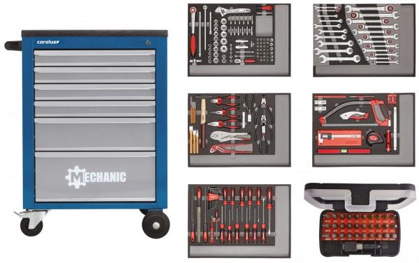 Werkstattwagen MECHANIC blau mit Werkzeugsatz 2250.5803, 222-tlg