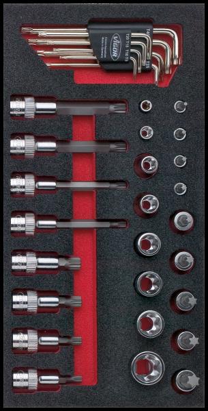 1/3 Weichschaumeinlage TORX® und XZN-Satz V1519 ∙ Vierkant hohl 12,5 mm (1/2 Zoll)
