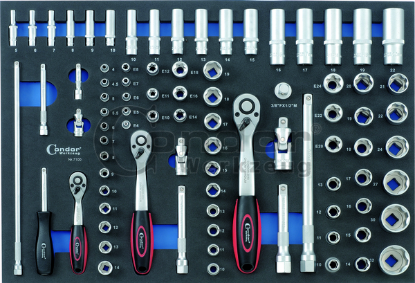 """Condor 7100 Schaumeinlage Steckschlüssel 3/3, 85-tlg., 1/4+3/8+1/2"""""""