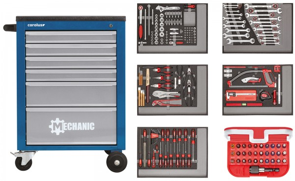 Werkstattwagen MECHANIC blau mit Werkzeugsatz 2250.5801, 222-tlg