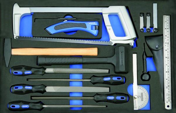 BX047 - Boxo Werkzeugeinlage Feil, Hammer, Mess-Technik-Satz 17-tlg.