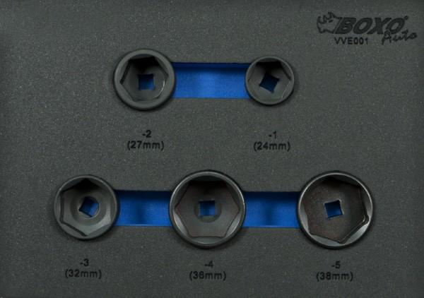 VVE001 - Boxo Werkzeugeinlage Ölfilterschlüssel-Satz 5-tlg.
