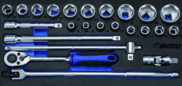 BX038 - Boxo Werkzeugeinlage Steckschlüssel-Satz 24-tlg.