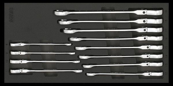 1/3 SFS Ring-Ratschen-Set, Knickkopf, 6-kant, 12-tlg.