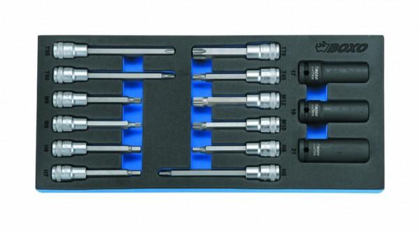 BX039 - Boxo Werkzeugeinlage Bit-Steckschlüssel und Kraft-Steck- schlüssel-Satz 15-tlg.