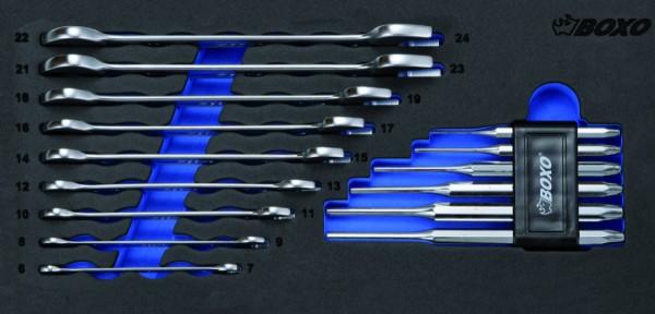 BX041 - Boxo Werkzeugeinlage Doppel-Maulschlüssel- & Splintaustreiber-Satz