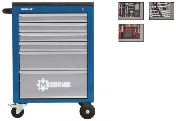 Werkstattwagen MECHANIC blau mit Werkzeugsatz 2250.3802, 130-tlg