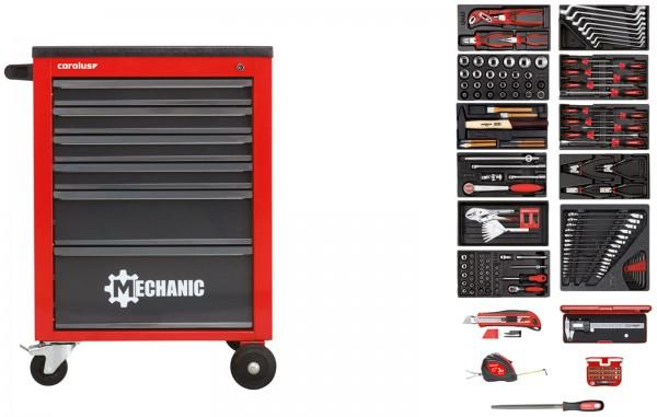 Werkstattwagen MECHANIC rot mit Werkzeugsatz 2200.090, 164-tlg