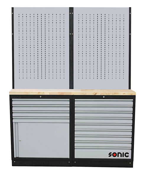 MSS 34`` 9 Schubladen, Schrank mit Türe und Lochwand