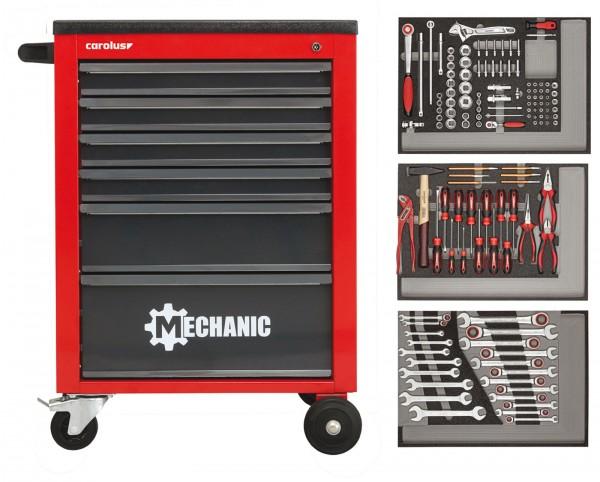 Werkstattwagen MECHANIC rot mit Werkzeugsatz 2250.3802, 130-tlg