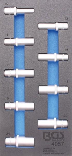 BGS - Werkstattwageneinlage Steckschlüsseleinsätze 12,5 (1/2), 6-kant, tief, 10-24 mm, 9-tlg. (Art.