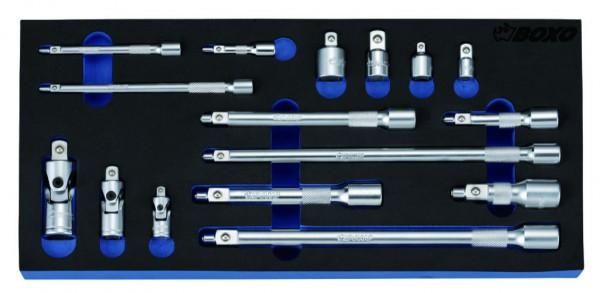 BX093 - Boxo Werkzeugeinlage Adapter-Magnetische Verlängerung, Kardangelenk-Satz 16-tlg.