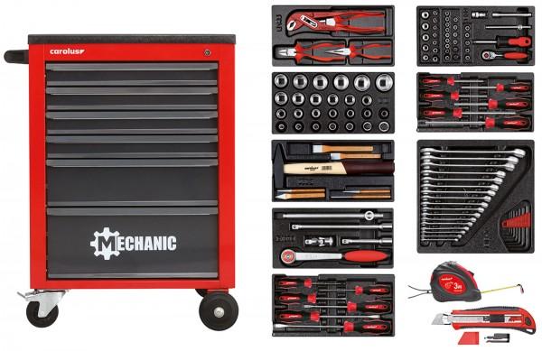 Werkstattwagen MECHANIC rot mit Werkzeugsatz 2200.080, 118-tlg