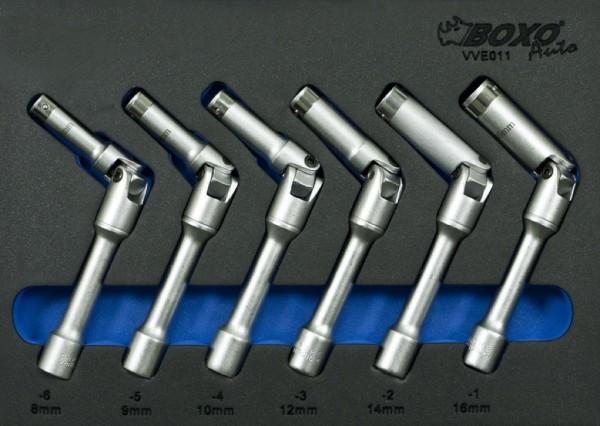 VVE011 - Boxo Werkzeugeinlage Glühkerzen-Gelenkschlüssel-Satz 6-tlg.