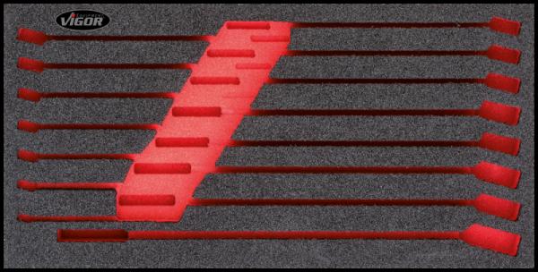 1/3 Weichschaumeinlage Ring-Maulschlüssel-Satz, leer V1649