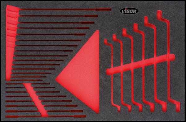 1/3 Weichschaum-Einlage Flachschlüssel-Satz, leer V2374