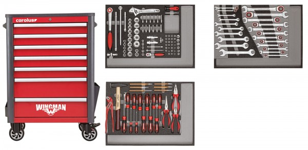 Werkstattwagen WINGMAN + 2250.3802 Werkzeugsatz 130-tlg