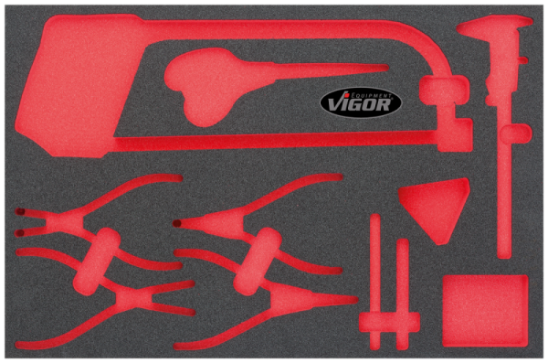 3/3 Weichschaumeinlage Zangen, Mess, Schenidwerkzeug-Satz, leer V1871