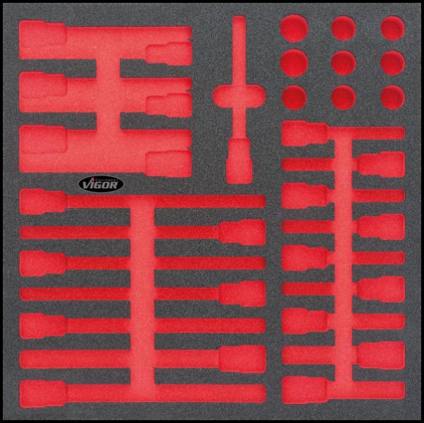 2/3 Weichschaumeinlage Ribe-Schraubendreher-Einsatz-Satz, leer V2259