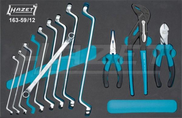 HAZET Werkzeug-Satz, Doppel-Ringschlüssel, Zangen 163-59/12