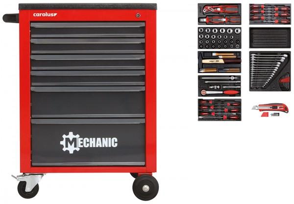 Werkstattwagen MECHANIC rot mit Werkzeugsatz 2200.070, 80-tlg