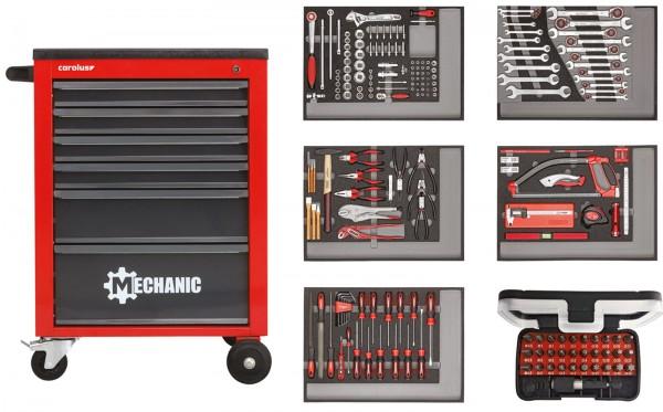 Werkstattwagen MECHANIC rot mit Werkzeugsatz 2250.5801, 222-tlg