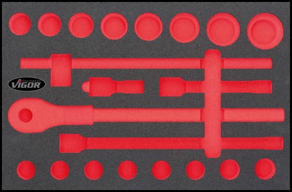 3/3 Weichschaumeinlage 3/4″ Steckschlüssel-Einsatz-Satz, leer V2363
