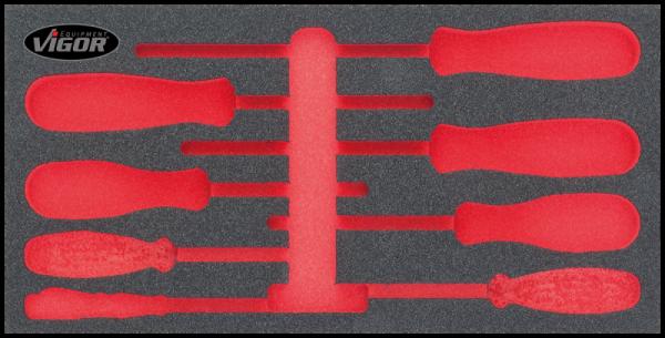 1/3 Weichschaumeinlage VDE-Schraubendreher-Satz, leer V2240