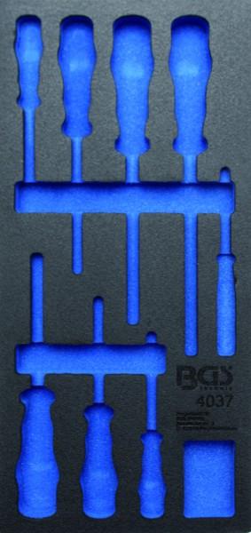 BGS - Werkstattwageneinlage (408x189x32 mm), leer, für VDE Schraubendreher-Satz, 8-tlg. (Art. 4037-1