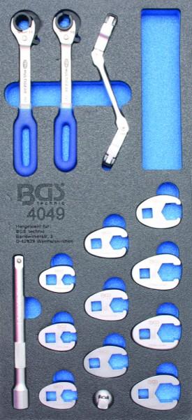 BGS - Werkstattwageneinlage Hahnenfußschlüssel und Offene Ringschlüssel, 15-tlg. (Art. 4049)