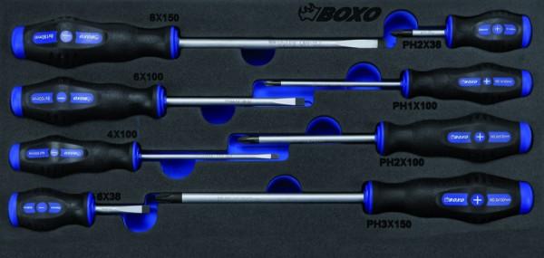 BX040 - Boxo Werkzeugeinlage Schraubendreher-Satz 8-tlg.
