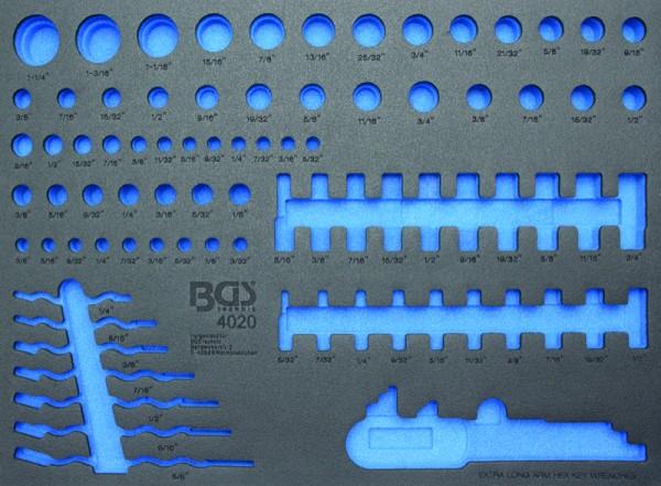 BGS - Werkstattwageneinlage (408x467x32 mm), leer, für Steckschlüsseleinsätze / Maulringschlüssel (A