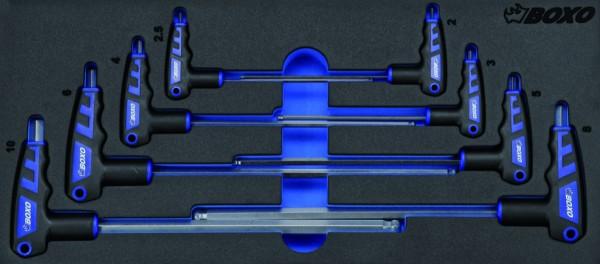 BX020 - Boxo Werkzeugeinlage 2-seitiger 6Kt- Stiftschlüssel mit T-Griff