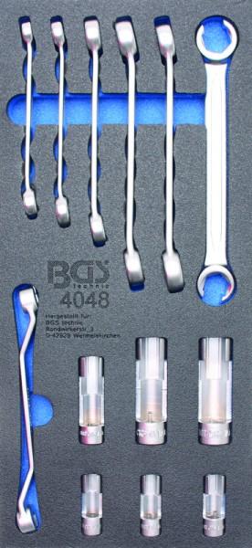 BGS - Werkstattwageneinlage Offene Ringschlüssel und 10 (3/8) Spezial-Einsätze, 13-tlg. (Art. 4048)