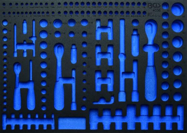 BGS - Werkstattwageneinlage (408x467x32 mm), leer, für Steckschlüsselsatz, 192-tlg., Pro Torque® (Ar