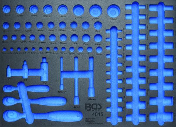 BGS - Werkstattwageneinlage (408x467x32 mm), leer, für Umschaltknarren und Steckschlüsseleinsätze, l