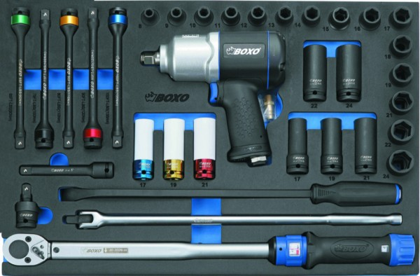 BX073 - Boxo Werkzeugeinlage Druckluft-Schlagschrauber und Drehmomentschlüssel-Satz 34-tlg.