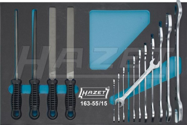 HAZET Werkzeug-Satz, Doppel-Maulschlüssel, Feilen 163-55/15