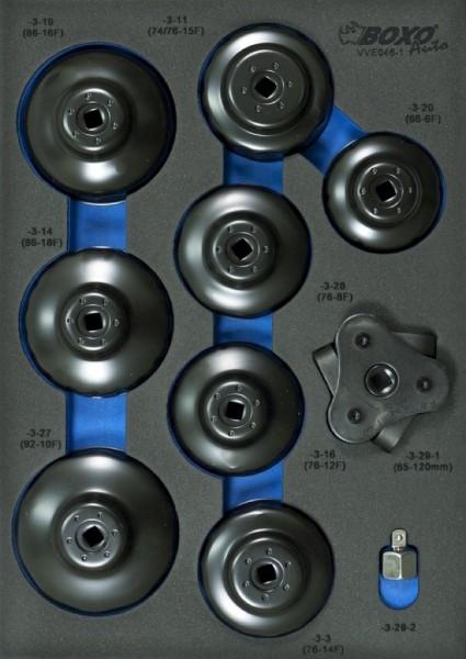 VVE046 - Boxo Werkzeugeinlage Ölfilterschlüssel-Satz - Euro PKW 16-tlg.