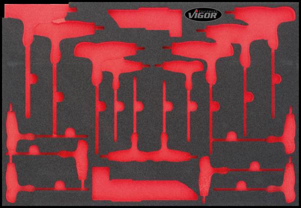 1/1 Weichschaumeinlage T-Griff und Winkelschraubendreher, leer V1972